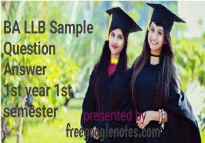 BA LLB Sample Question Answer 1st Year 1st Semester