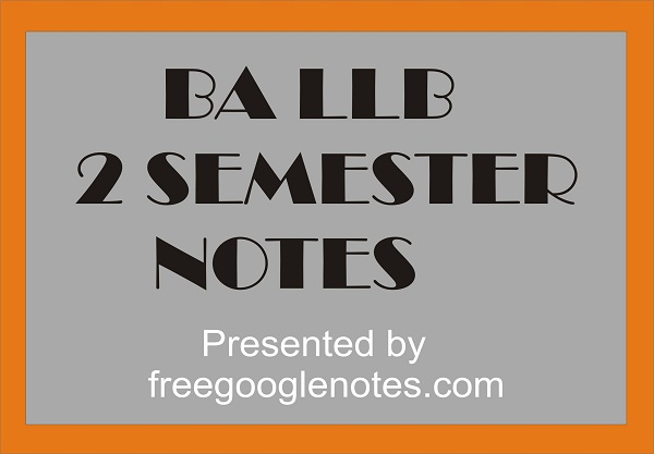 Ba Llb 2nd Semester Notes Pdf