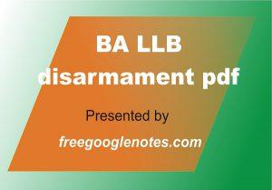BA LLB disarmament pdf