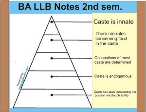 Describe the main distinctive features of the caste system