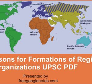 Reasons for Formations of Regional Organizations UPSC PDF
